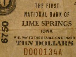 Lime Springs Iowa Ia 1929 Type 1 10.00 Ch. 6750 The First National Bank