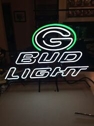 Rare One Of A Kind Packers Bud Light Beer Budweiser Neon Lighted Sign