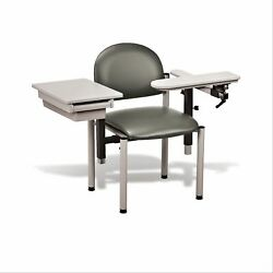 Padded Sc Series Draw Chair-clintoncleanandtrade Armrests With Drawer-warm Gray 1 Ea