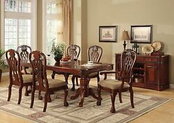 Traditional Design 7pc Dining Set Antqiue Cherry Finish Table Arm
