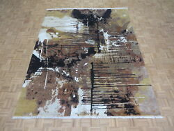 8 X 10 Hand Knotted Multi Color Modern Abstract Oriental Rug With Silk G6979