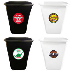 Trash Can 5.5 Gal Vintage Gas Themed White Or Black Plastic Retro Man Cave Game