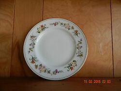 Wedgwood Mirabelle Salad Plate R4537, Bone With Green Dotted Edge And Floral Rim