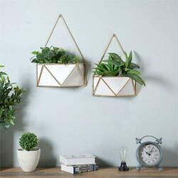 Luxen Home Set of 2 White Metal Wall Planters