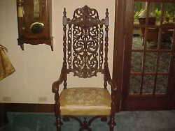 King High Back Chair Antique Carved 60x24x24dark Wood And Fabric