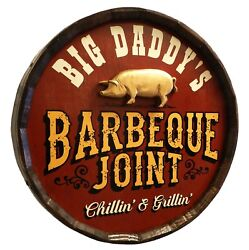 Vintage Style Wood Sign Personalized Quarter Barrel Wood Sign Barbeque Joint 21