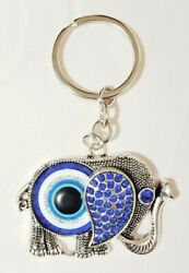 Lucky Elephant Key Chain Hanging Rings Feng Shui Blue Evil Eye Protection Trunk