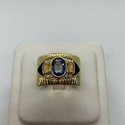 Custom Hand Crafted 18k Yellow Gold Blue Yellow Sapphire Black Enamel Wide Ring