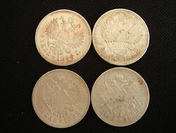 Lot Of 4 X 1 Ruble Rouble Coins Nicholas Ii Russian Empire Silver Nr. 5152