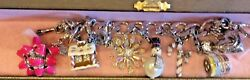 Juicy Couture Christmas Silver Tone Charm Bracelet W 6 Retired Charms