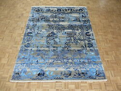7'10 X 10 Hand Knotted Wool And Silk Gray Blue Fine Modern Oriental Rug G4868