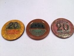 Vintage Casino Chips From Monaco 3 Chips Very Rare Early 1900's L@@k