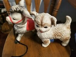 Lot Vintage Antique The Sun Rubber Co. 1961 Donkey And Dogs Squeaky Toy 11 Tall