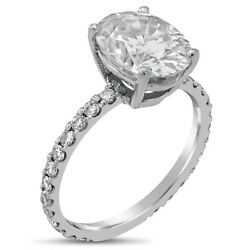 3.50ct Oval Forever Brilliant Moissanite And Diamond Engagement Ring O10