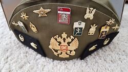 Soviet Russian Military Hat Pilotka Cap With 3 Sleeve Patches And 17 Badges