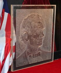 Vintage Abraham Lincoln Original Art Chiseled And Carved On Acrylic, Artist Signed