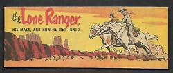 1954 Golden Age Cheerios The Lone Ranger His Mask And How He Met Tonto Pristine