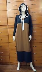 HOODIE DRESS MID-CALF CASUAL STRETCH LONG SLEEVE POCKET ZIPPER MADE IN EUROPE L