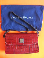 Rare Dooney And Bourke Red Croco Casey Cluth Embossed Leather Purse Wallet Bag Mg