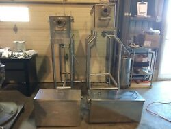 One Lot Of 4 Rectangular Stainless Steel Hoppers With Accessories - Very Clean
