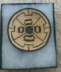 Vintage Mini, Pima Native American Indian Coiled Basket With Whirlwind Design