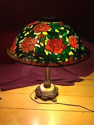 Hand Made Stained Glass Rose Lamp Shade Style