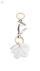 Marni Leather Flower In  White With Brass Key Ring $170