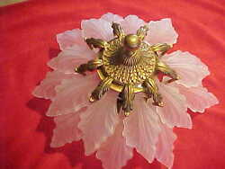 Art Deco 18 Frosted Glass Leaf And Ant. Brass Chandelier In The Manner Of Lalique