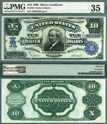 1908 10 Silver Certificate Tombstone Note Fr-304 Pmg Graded Choice Very Fine 35