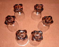 6 Reversable Amber Colored Candle Holders Taper Or Tea Light