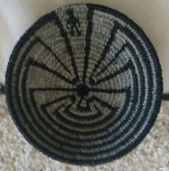 Vintage Southwest Native Indian, Papago Coiled Main In The Maze Minature Basket