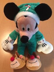 Disney Store Pj Mickey Plush With Reindeer And Candy Canes 14
