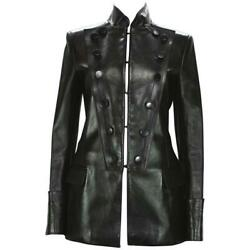 Tom Ford For Yves Saint Laurent F/w 2001 Leather Military Jacket Fr.38 - Us 6