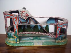 Vintage Tin Windup Roller Coaster J Chein And Co. Old Logo 1933-50 No Rust