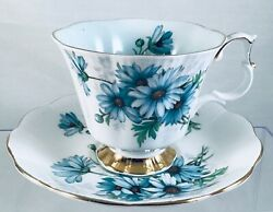 Royal Albert Footed Cup And Saucer Blue Daisy Gold Trim Light Blue Inside Rare