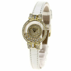 Chopard Happy diamond ribbon Watches  K18 Yellow GoldLeather Ladies