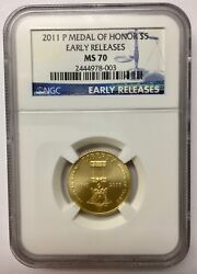 2011-p Us Gold 5 Medal Of Honor Commemorative - Ngc Ms70 Early Releases
