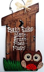 Outhouse Bath Rules Owl Sign Woods Bathroom Bath Rustic Country Wall Art Plaque