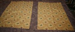 Antique Pair Embroidered Jacquard Pillow Shams Cases Coverlets Gold 29x19