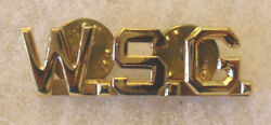 Wwii Wisc State Guard Collar Brass Gilt W.s.g. Pin Is Full Sz And Clutch Back