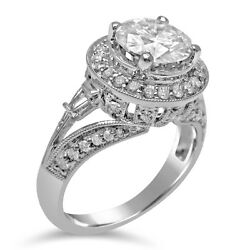 2.10ct Round Forever One Moissanite And Diamond Engagement Ring Antique R169