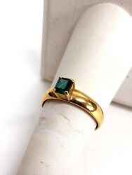 18k Yellow Gold Colombian Natural Emerald Ring Muzo Over 1 Ct
