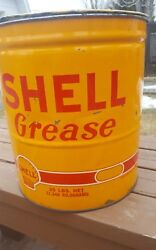 Vintage Advertiding 25 Lbs Shell Grease Can Gas Station 13 Height