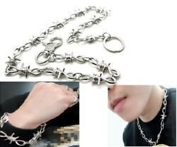 3 Pcs Silver Chrome Barb Wire Biker Trucker Wallet Necklace Bracelets Chain Set