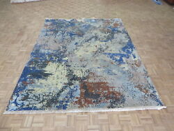 7'11 X 10 Hand Knotted Modern Abstract Blue Oriental Rug With Silk G6112