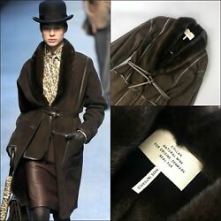 RARE Hermes Women Brown Sheared MINK FUR Long Leather Winter Coat Size S FR36