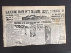 John Dillinger Front Page Headline The Chronicle News Probe Into Dillinger Esca