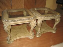 2 Pair Solid Oak Wood Glass Top Coffee End Occasional Tables