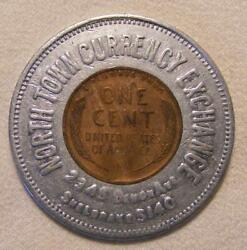 1938 North Town Currency Exchange Of Chicago Ill. Good Luck Encased Wheat Cent