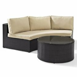 Crosley Catalina 2 Piece Wicker Curved Patio Sofa Set In Brown And Sand